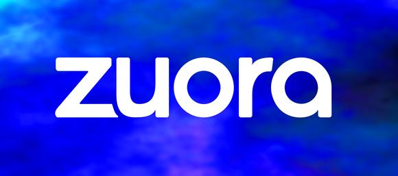 White Zuora logo against a mottled blue background.