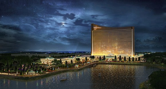 Rendering of Encore Boston Harbor at night.