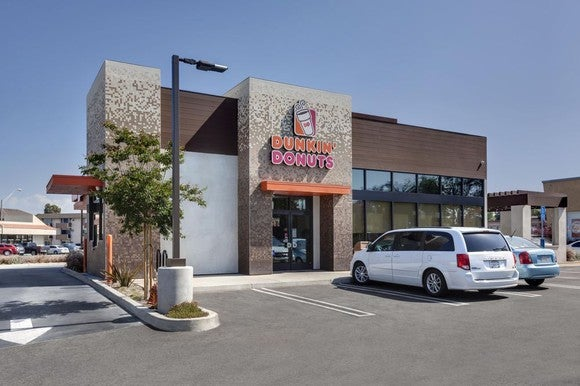 The exterior of a Dunkin' Donuts.