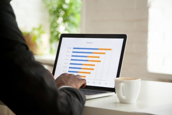 Man sitting a laptop with a bar graph on the screen
