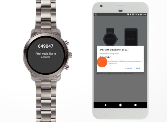 Fossil wearable device connecting to smartphone.