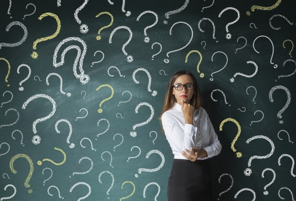 A woman in a thinking pose standing in front of a chalk board with question marks drawn on it.