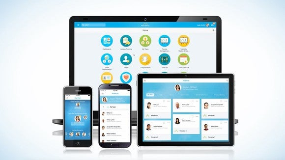 Workday software running on multiple devices including a laptop, smartphones, and tablet computer.
