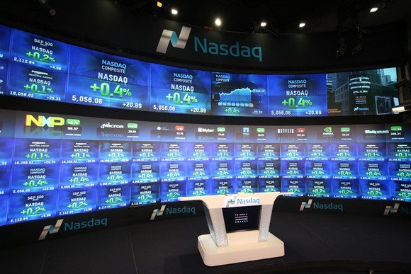 A media studio inside the Nasdaq stock exchange.