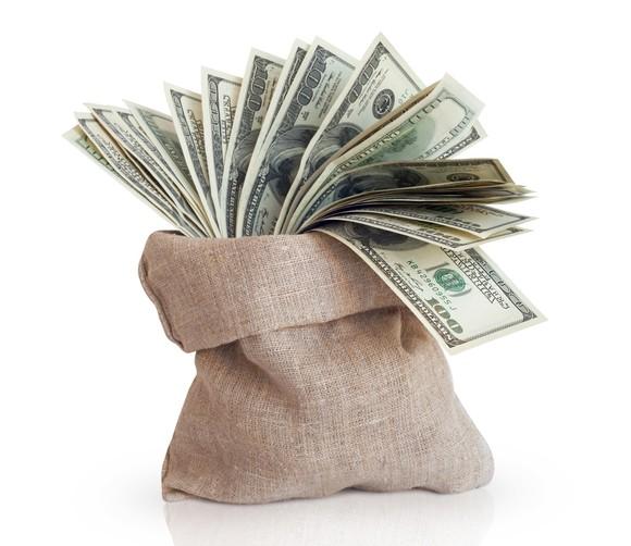A burlap sack full of $100 bills.