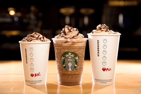 Three different size Starbucks cups showing drinks drizzled with molten chocolate.