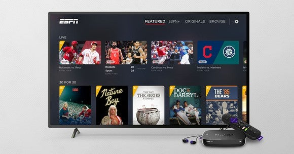 ESPN on a TV running Roku's operating system.