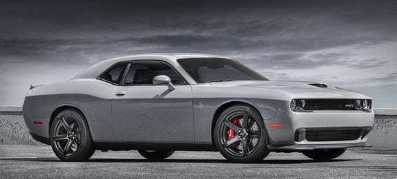A gray 2018 Dodge Challenger SRT Hellcat, a large two-door coupe.