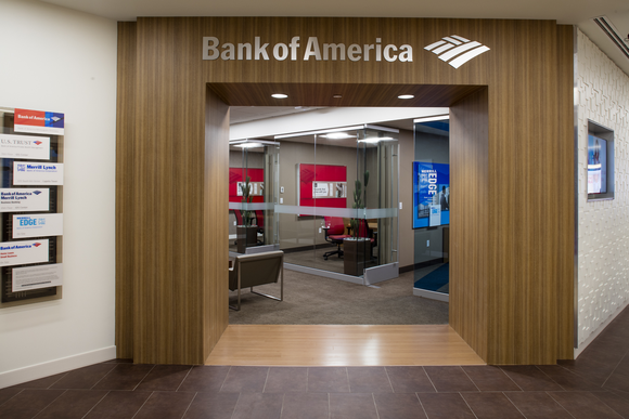 Entrance to bank branch with wood paneling and Bank of America's name and logo.