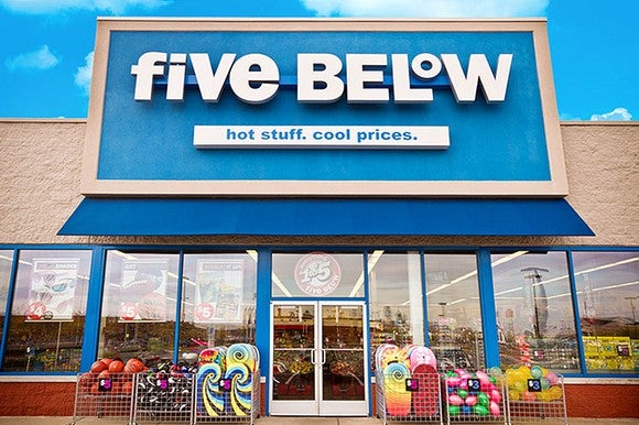 The entrance to a Five Below store