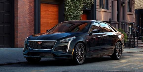 A black 2019 Cadillac CT6, a big luxury sedan.