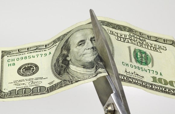 A hundred dollar bill being cut in half by scissors.