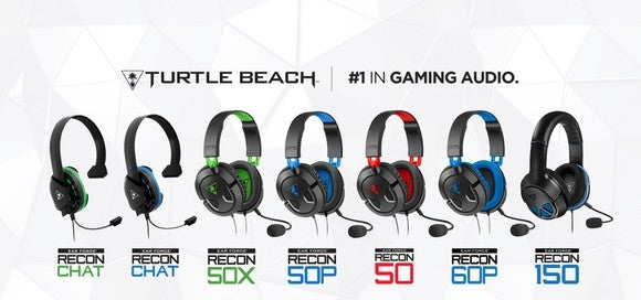 """Seven of Turtle Beach's gaming headset models lined up horizontally with company name and logo and phrase """"#1 in gaming audio"""" above them."""