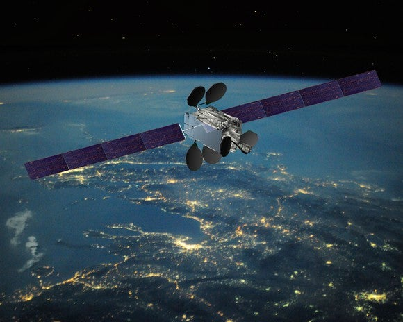 An Intelsat EpicNG satellite above Earth.