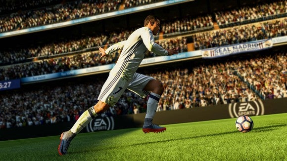 A player moving towards the ball in EA's FIFA 18 World Cup.
