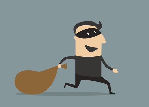 A drawing a of a robber holding a sack.