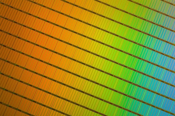 A wafer of 3D NAND memory chips.