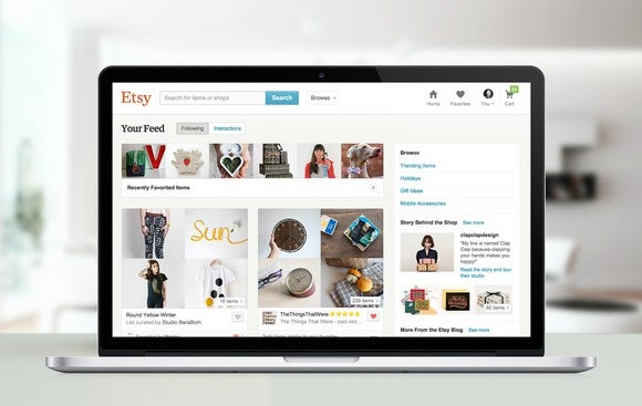Etsy website displayed on a laptop