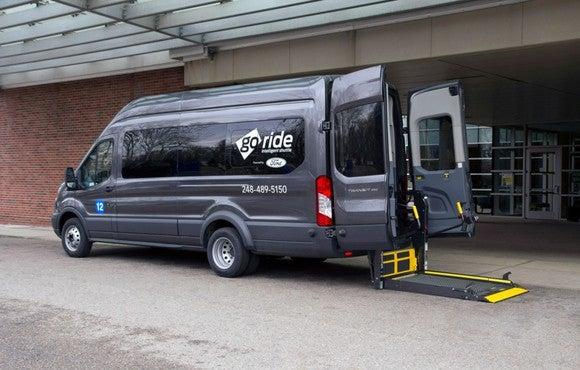 Ford's commercial van with GoRide labeled on the window.