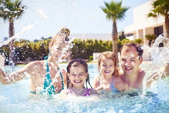 Two adults and two children splashing in a pool