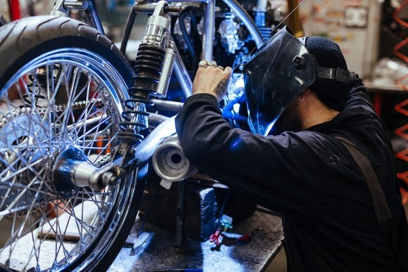 Man working on a motorcycle
