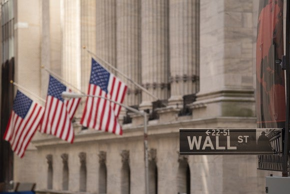 A Wall St. street sign with three American flags flying on the building behind it.
