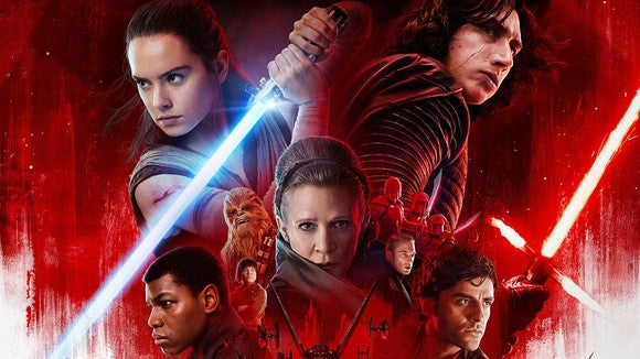 Star Wars: The Last Jedi poster, featuring Rey, Kylo Ren, Leia, Finn, Poe, and other characters.