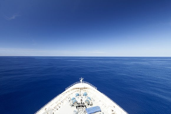 Prow of a cruise ship in open waters