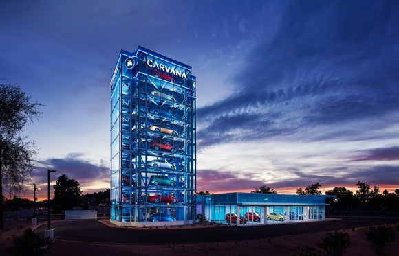 A nine-story glass building holding up to 34 cars.