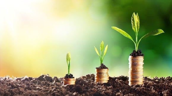 Three successively taller stacks of coins in dirt, each with larger plants growing on them
