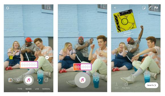 Three screenshots of Instagram Stories