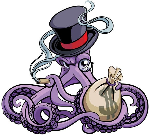 Cartoon-style octopus, guarding a money bag while smoking a cigar and sporting a monocle.