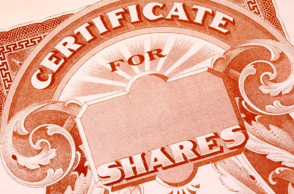 A paper certificate for shares of publicly traded stock.
