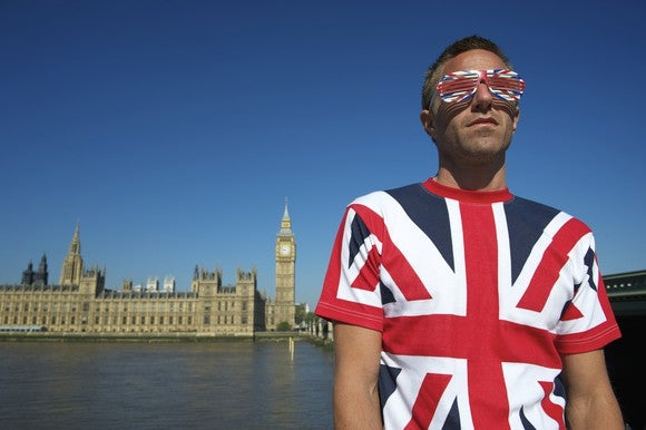 A man with a UK flag print on his t-shirt and sunglasses standing with the UK Parliament building off in the distance.