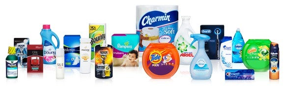 Procter & Gamble branded items like Charmin, Tide, Pampers, Bounty and Downy displayed together.