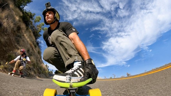 Skateboarder using a GoPro camera.