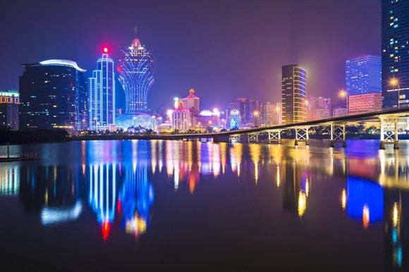 Macau's skyline from the water at night.
