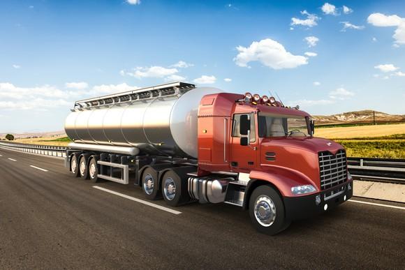 Tanker truck on highway.