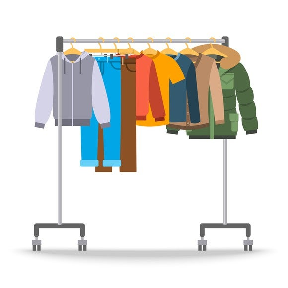 An illustration of clothing on a rack.