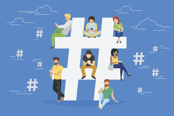 Illustration of people sitting on a hashtag