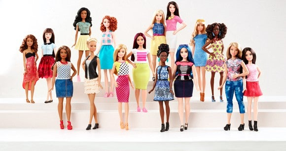 A number of dolls from Barbie's Fashionista's collection posed on several tiers.