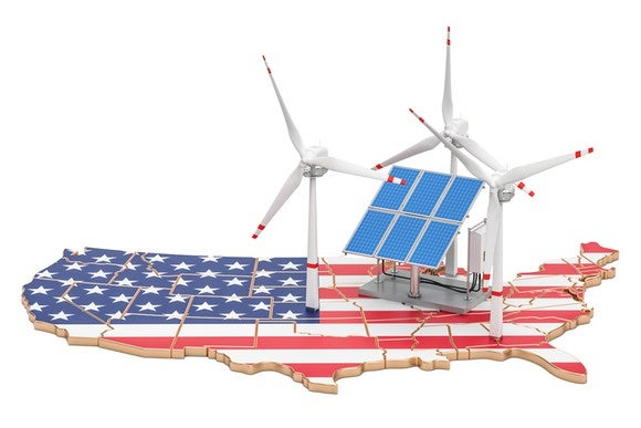 Wind turbines and solar panels on a map of the United States of America.