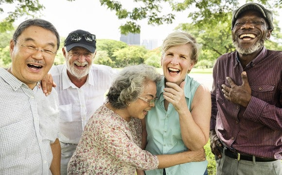 Five old people laughing.