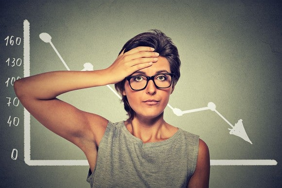 Woman with frustrated expression standing in front of a line graph that's falling.