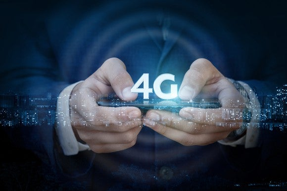 Person using a 4G mobile phone
