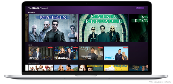 The Roku Channel on a laptop