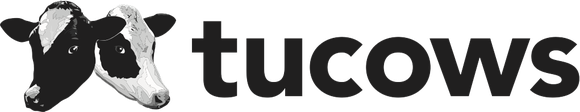 Tucows' corporate logo, featuring two cow heads and the company name.