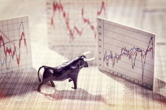 Bull figurine and upward stock graphs.