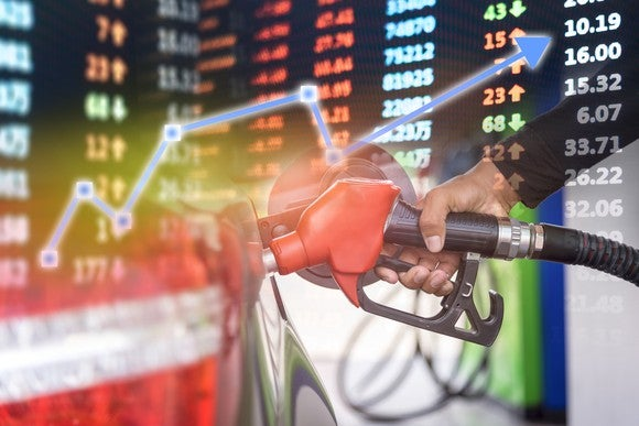 Red gas pump superimposed over a stock chart with a blue arrow going up.