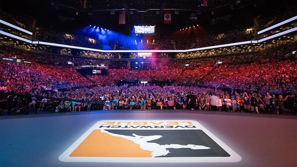 A sold-out stadium watching an Overwatch League event